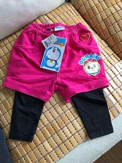 粉紅色假二件小朋友褲