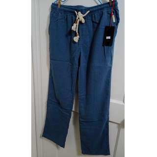 全新 亞麻橡筋褲頭 夏天透氣 長褲 休閒長褲 BRAND NEW LINEN TROUSERS FOR SUMMER