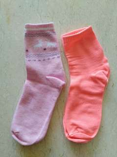 Pink and lumi orange socks