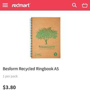 Besform recycled notebook/ ringed A5