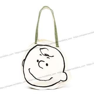 休閒風~樂天SNOOPY大頭造型查理布朗史努比花生家族手提包購物袋單肩包帆布袋收納袋(特價)