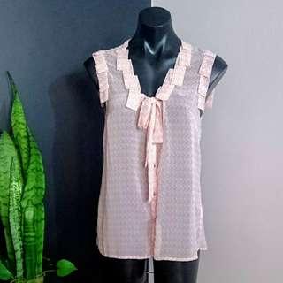 Women's size 10 'TOKITO' Stunning Sleeveless Semi Sheer nude blouse - AS NEW