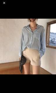 🚚 水藍色薄襯衫