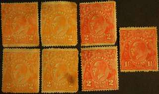 7 Unused 20s Australia Postage 2D 2 Pence Red Orange K.G V Stamps