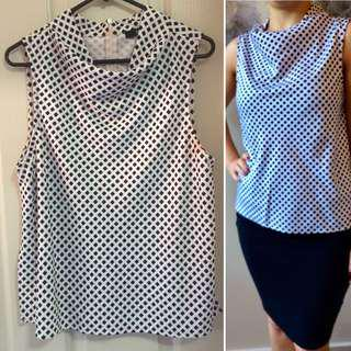 SOLD AT MARKET STALL Sportsgirl Cowl Neck White Top w/geometric black print
