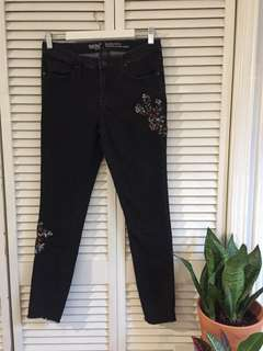 Black Embroidered Massimo Jeans