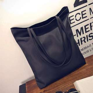 🚚 PU Black Leather Tote Bag Instocks