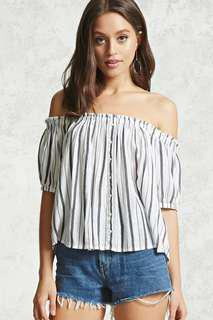 Forever 21 Striped Off the Shoulder Top SMALL