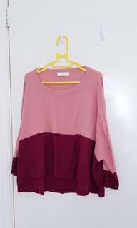 Pink and burgundy knit jumper