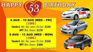 NATIONAL DAY Car Rental Package!