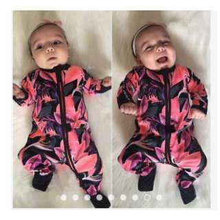 Organic Cotton Bonds Long Sleeve Abstract Prints Long Sleeve Mittens Newborn Baby Toddler Bodysuit Romper