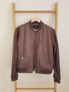 Forever 21 mocha bomber jacket