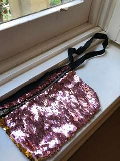 Pink and Gold Sequin Festival Pouch
