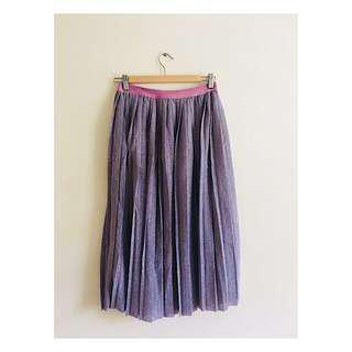 H&M Purple Glitter Midi Skirt