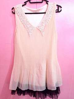 Cream chiffon mini dress