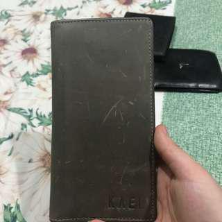 Leather suede wallet for men