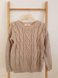 Camel beige wool knit jumper