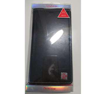 Black Leather Samsung Note 4 case with multiple card slots