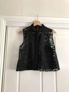 Portmans black sheer embroidered top
