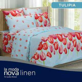 Promo 1 set bed cover dan sprei King Novalinen Tulipia