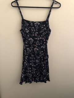 Dolly girl navy floral wrap dress