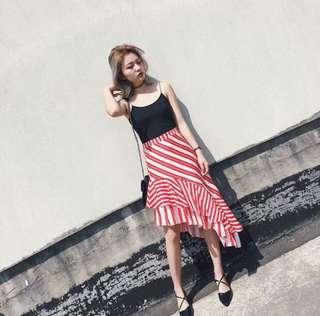 Zara inspired red & white flouncy skirt