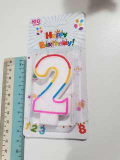 Number 2 Birthday Candle (includes normal mail)