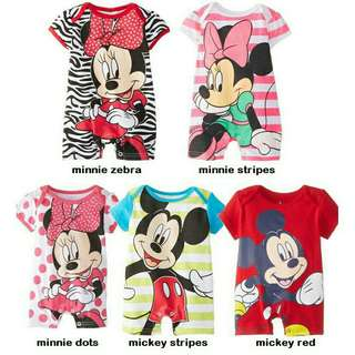 Character Romper Mickey and Minnie Mouse