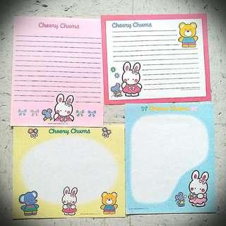 Cheery Chums Sanrio 95 Letter 信紙