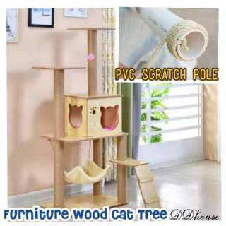 (New Arrival) furniture wood CAT TREE WITH CAT SCRATCHER CLIMBING HOUSE FOR CATS PLYWOOD & SISAL ROPE with hammock bowl