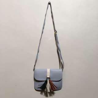 Gray Sling Bag with Tassel