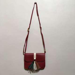 Red Sling Bag with Tassel