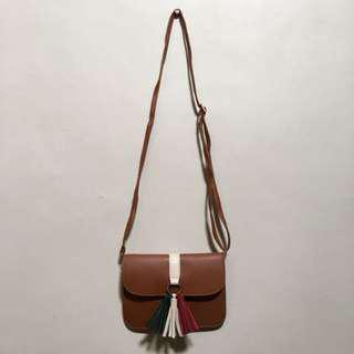 Brown Sling Bag with Tassel