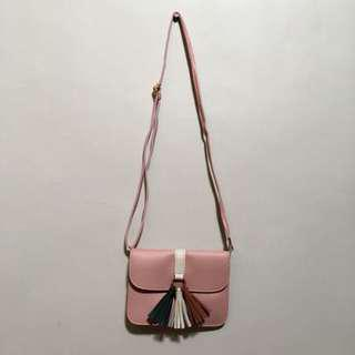 Pastel Pink Sling Bag with Tassel