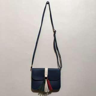 Blue Sling Bag with Tassel
