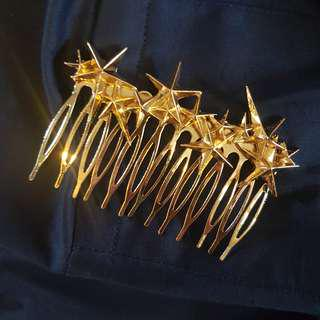 Gold Stars Hair Comb