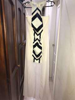 Pilgrim off white and black herringbone dress