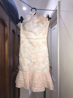 High neck beige and white backless lace dress
