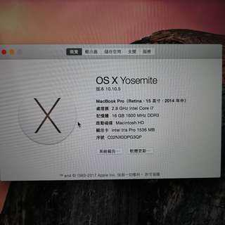 YouTuber必備 剪片修圖好幫手 Apple MacBook Pro 2014 A1398 有發票