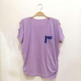 Purple Offshoulder Shirt
