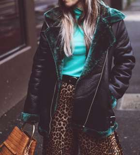 Boohoo green faux fur biker jacket