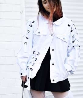 Boohoo white denim eyelet jacket