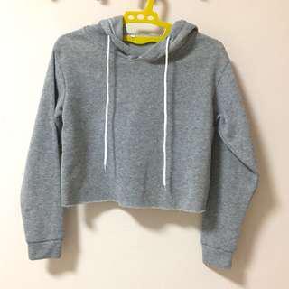 Grey crop top hoodie