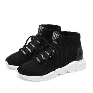 Black High Cut Mesh Rubber Shoes