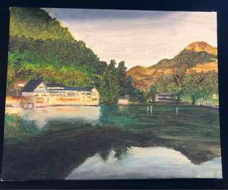 全手繪 金鏻湖 Painting 油畫