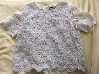 Nichii White Lace Floral Top