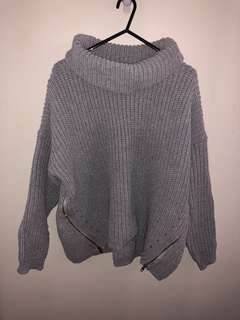 Dolly girl grey turtle neck knit oversized jumper