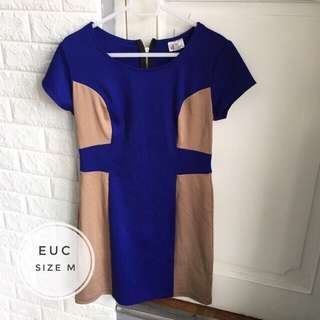 Royal Blue & Beige Semi Formal Dress