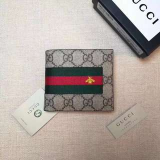 Gucci Web GG Supreme Wallet with Bee