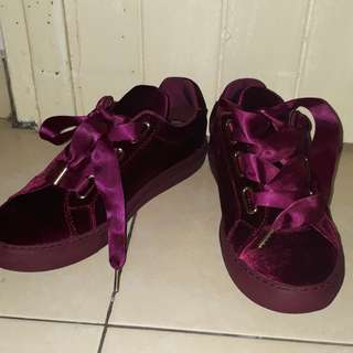 Pedro Suede Wine Ribbon Lace Sneakers